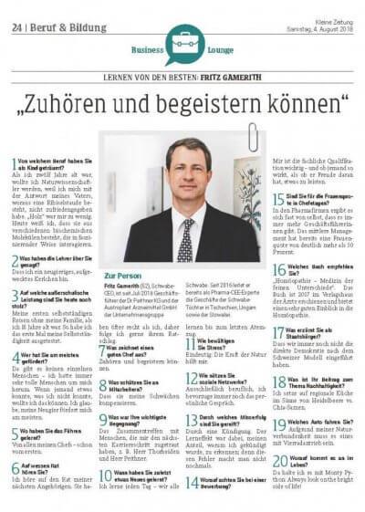 """Kleine Zeitung Interview: """"Zuhören und begeistern können"""" - Kleine Zeitung Interview: Homöopathie beliebt wie nie zu vor – © Screenshot Schwabe Austria"""