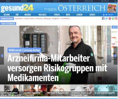 gesund24.at Artikel: Arzneifirma-Mitarbeiter versorgen Risikogruppen mit Medikamenten - Gesund24 Arzneimittel-Lieferdienst Schwabe Mitarbeiter – © Screenshot oe24.at