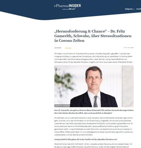 ePharmaInsider: Dr. Fritz Gamerith erzählt im Interview über Stress in der Coronazeit
