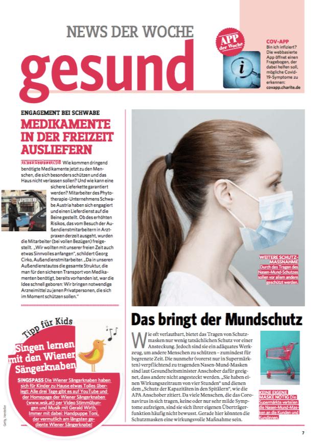 Durch den freiwilligen Lieferdienst der Schwabe-Austria Mitarbeiter bleibt die Medikamentenversorgung gewährleistet – Pressebericht über Schwabe Austria in gesund & fit