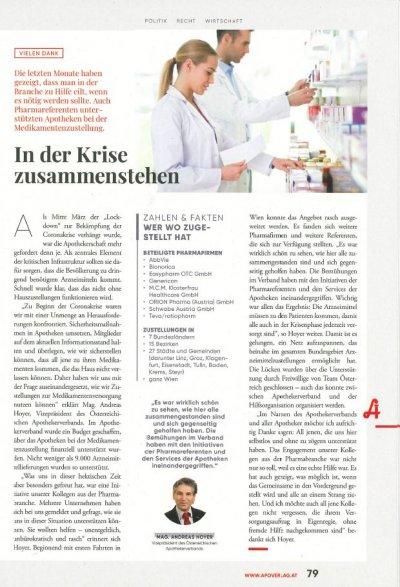 ÖAZ: In der Krise zusammenstehen - ÖAZ Medikamentenversorgung Corona Krise – © Screenshot Schwabe Austria
