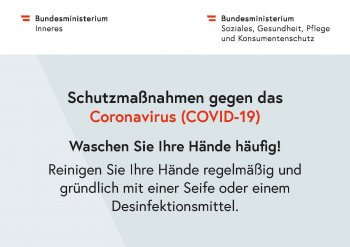 Schutzmassnahmen Coronavirus Bundesministerium Händewaschen