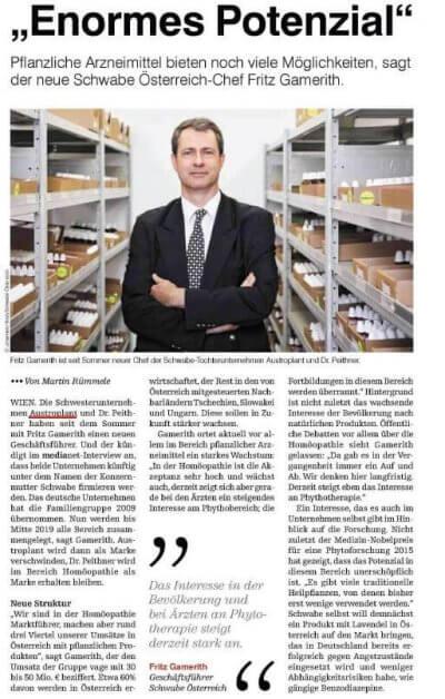 Medianet Interview: Schwabe-Österreich Chef Gamerith sieht in Pflanzen Potenziale - Medianet Interview Dr. Fritz Gamerith Potenzial pflanzlichen Arzneimittel – © Screenshot Schwabe Austria