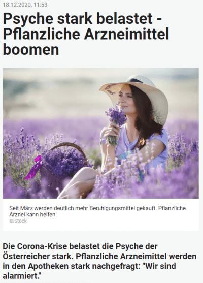 heute.at: Psyche stark belastet – Pflanzliche Arzneimittel boomen - Psyche belastet Boom pflanzlicher Arzneimittel – © Screenshot Schwabe Austria